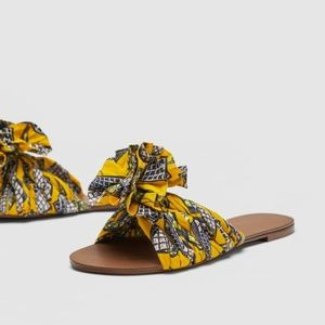 Zara Yellow Printed Fabric Knotted Detail Slides